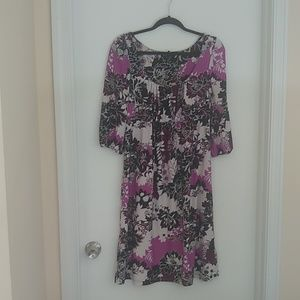 Daisy Fuentes purple & black empire waist dress